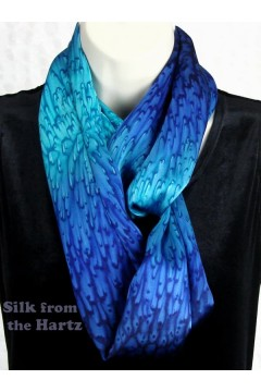 Special anniversary gift for her - hand dyed silk womens fashion blue infinity loop scarf