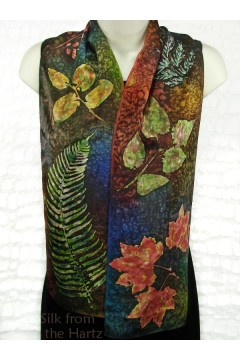 Hand printed and painted with dye artistic leaf print autumn color silk scarves.