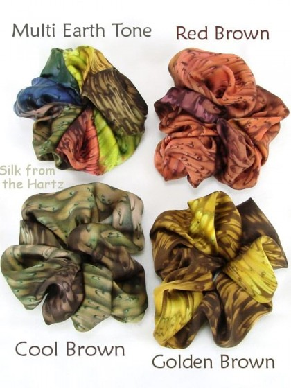 The best accessories for long hair are these soft silk satin earth tone hair scrunchies for women hand dyed in golden, red and cool browns.