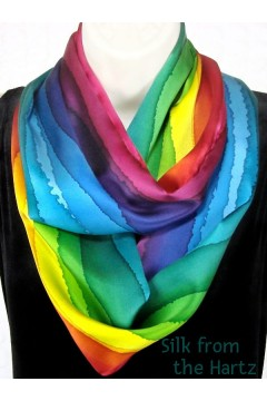 An awesome gift for her, love this cool hand painted rainbow stripe infinity scarf for women. The best gift for girls that love silk and bright colors.