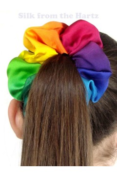 Rainbow Silk Satin Scrunchies