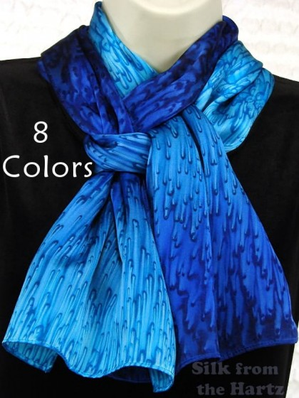 Blue silk satin scarf best friend gift idea, beautiful fashion for women in a choice of 8 colors.