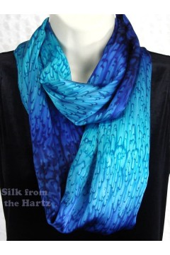 Blue silk infinity or eternity fashion scarf, anniversary gift for the wife