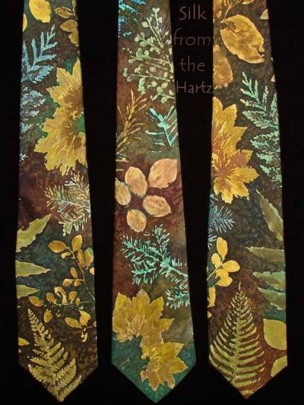 Camo brown and green leaf mens silk neckties hand printed with ferns, maple leaves, huckleberry, and other Pacific Northwest leaves in camouflage colors.