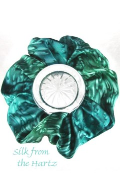 Emerald green colored silk scrunchie may also be worn as a designer hippie headband for girls and ladies.