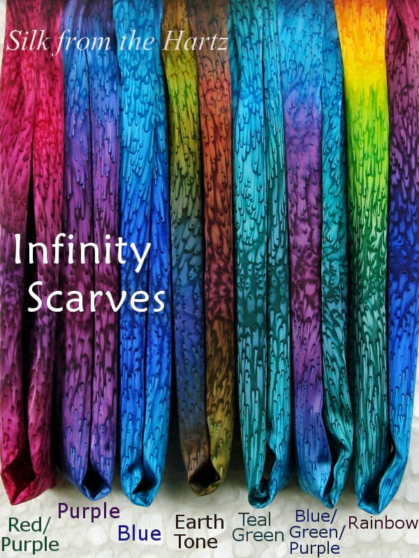 Handcrafted silk womens infinity scarves in 7 colors, soft and easy to wear gifts