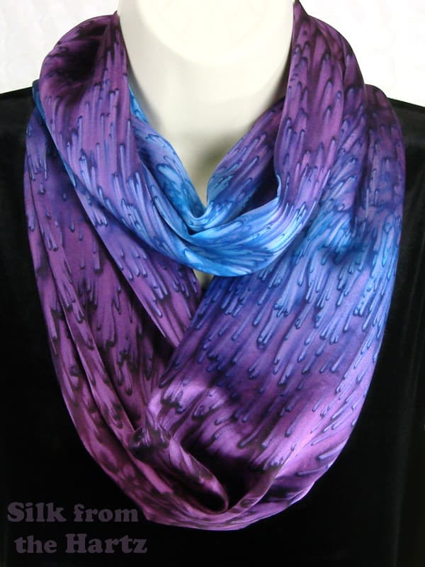 Hand dyed silk satin cowl neck infinity scarf, plum purple and lavender ombre raindrop design, wonderfully soft.