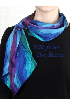 Long Skinny Stripe Silk Scarves