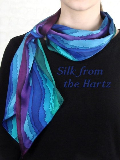 "Creative hand painted silk scarf with colorful blue, green and purple stripes. Elegant and beautiful just because gifts for her that say ""I Love You""."