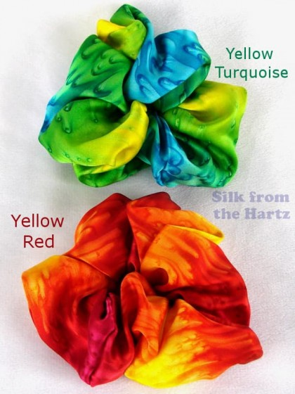 Cute yellow turquoise and orange red silk hair scrunchies for girls, teens and women.  Hair accessories with splash of beautiful color!