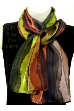 "Brown Stripe 11"" x 60"" Silk Scarf"