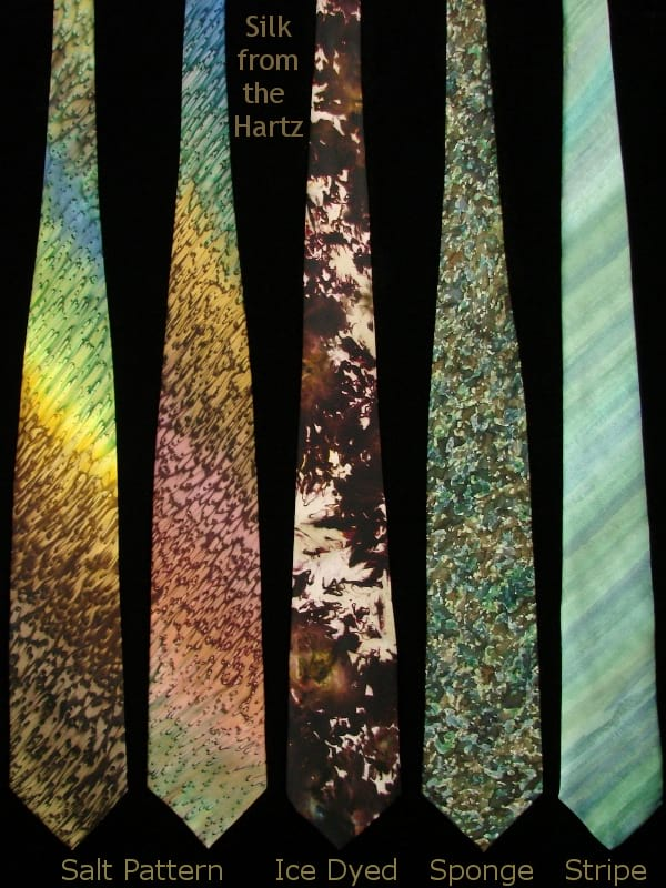 Hand painted silk mens neck ties in brown and green earth tone colors