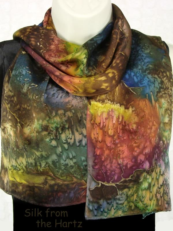 Earth Tone Designer Silk Scarves For Women Unique Gifts For Her