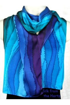 Elegant blue, green and purple stripe design hand dyed silk satin scarf for women..