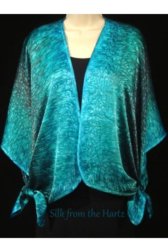 teal green silk satin evening or wedding attire hand dyed pattern