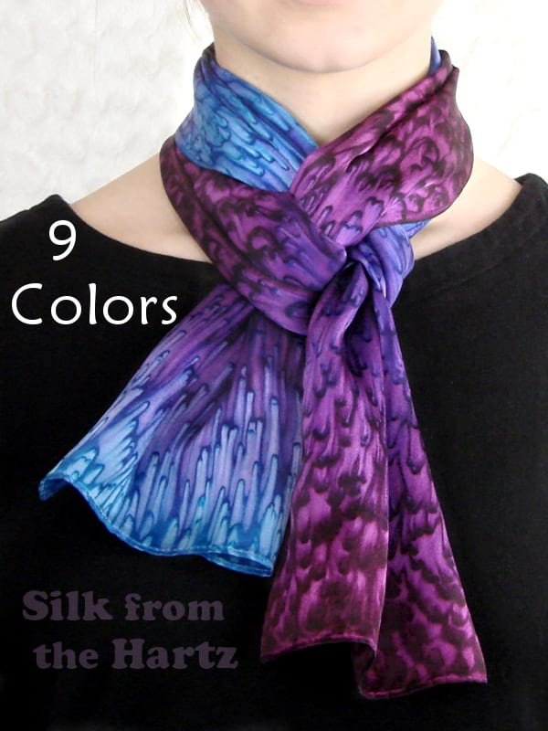 Unique fine quality handcrafted silk scarves with blue purple design, nice thank you appreciation gift idea, made in the US.