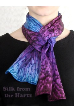 "Purple 8"" x 54"" Silk Scarf"