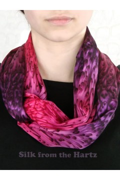 Red Purple Silk Infinity Scarf