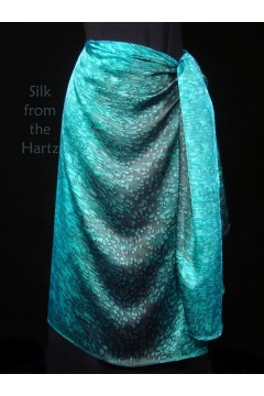 soft silk satin teal turquoise green pareo wrap skirt