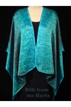 soft silk satin turquoise teal green shawl wrap