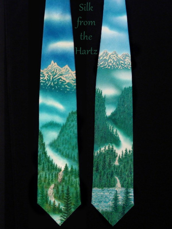 Unique hand painted silk ties with mountains, forested ridges and waterfalls.  An artistic hand crafted Pacific Northwest gift.