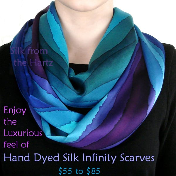 Handcrafted silk infinity scarf gift for women