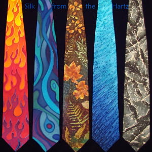 Unique artistic mens silk neckties hand painted with dyes in original creative designs - flame, abstract, leaf, raindrop, marble