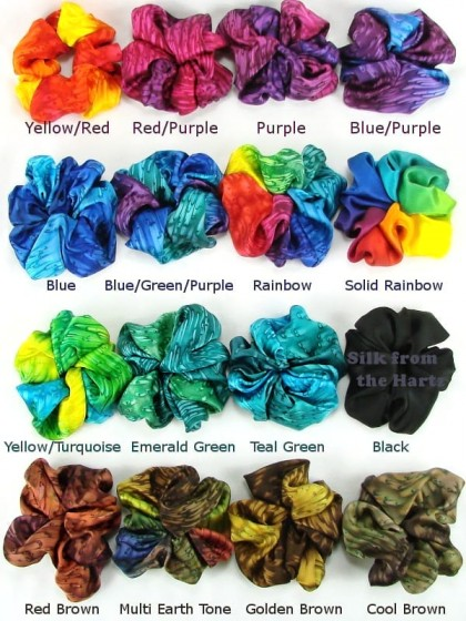 Large silk satin hair scrunchies for girls and women in 16 color combinations