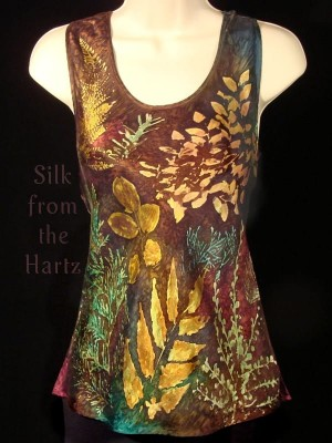 Botanical Leaf Silk Tank Top
