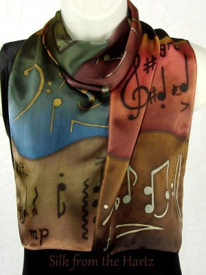 "Silk Music Scarves 8"" x 54"""