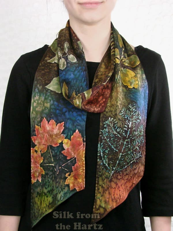 Beautiful fall color botanical gifts with nature theme for women - hand printed silk scarves painted with dyes.