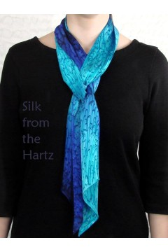 Long Skinny Blue Silk Scarf