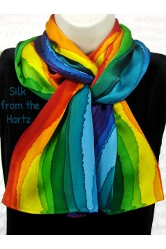 An original, fun gift idea for her - hand dyed rainbow silk scarf.