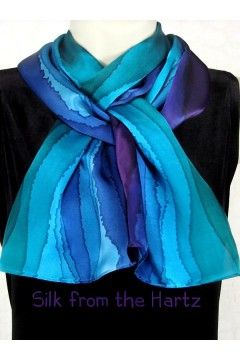 A unique classy retirement gift idea for women - wife, mom or friend. Blue, green and purple striped silk scarf for her.