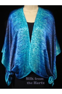 Turquoise Royal Blue Silk Wrap