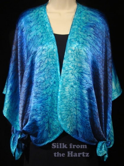 Turquoise, royal blue and navy luxurious silk satin wrap shawl, hand dyed with raindrop pattern
