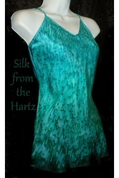 Elegant turquoise and teal green silk satin camisoles for women