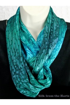 Teal Green Silk Infinity Scarf