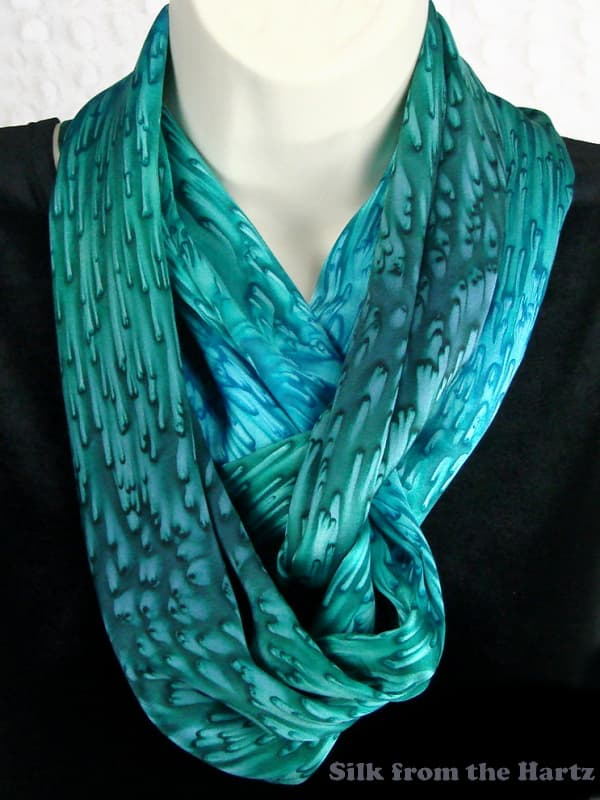 comfy green womens silk infinity circle scarf made in usa