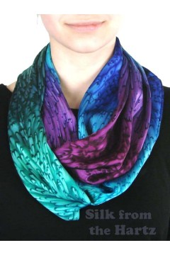 Womens jewel tone silk infinity scarf, hand dyed in blue, green and purple circle design