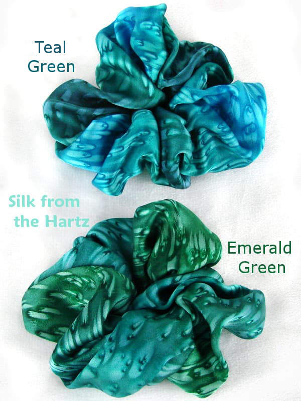 Soft luxurious silk satin scrunchies in beautiful cool emerald, teal and turquoise greens.