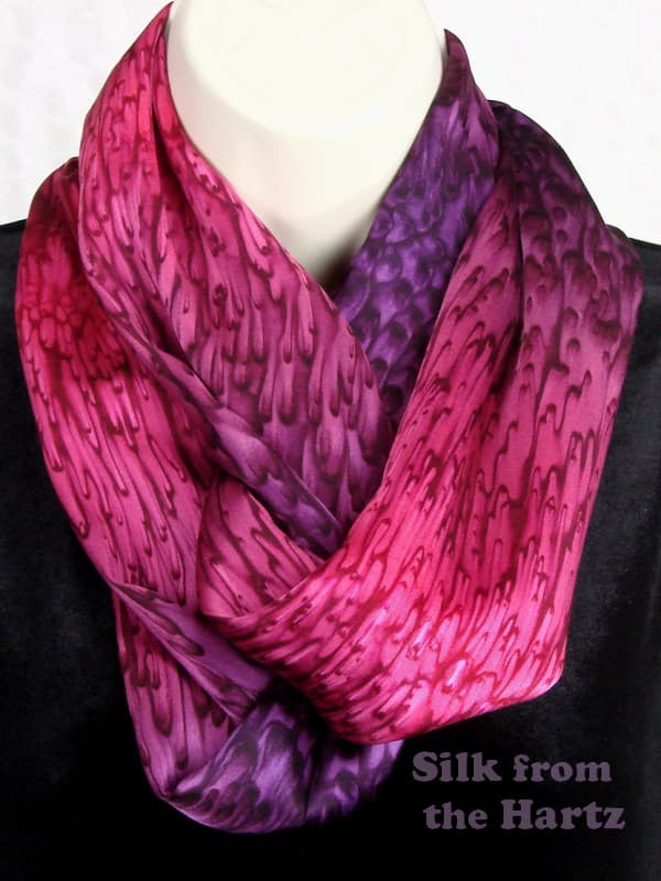 Creative red purple infinity scarf, hand dyed by the artist, soft silk satin