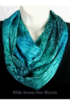 Made in the USA teal and turquoise green silk infinity scarf hand dyed and sewn