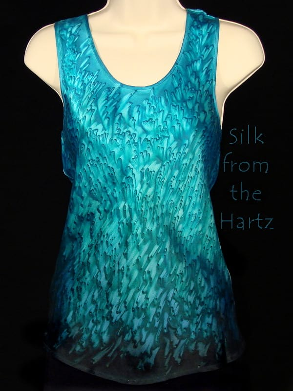 b8bf39dc16aa32 Silk Tank Tops for Women Artistic teal and turquoise green hand dyed silk  satin tank top Comfy raspberry red ...