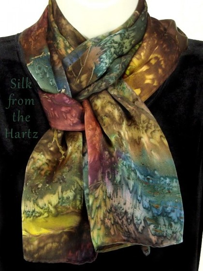 Creative designer silk scarves in earth tones make unique gifts for her or friends. Artistic hand dyed design roughly based on patterns in stones.