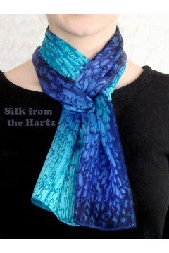 "Blue 8"" x 54"" Silk Scarf"