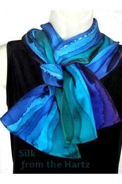 Blue Green Purple Stripe 11 x 60 Scarf