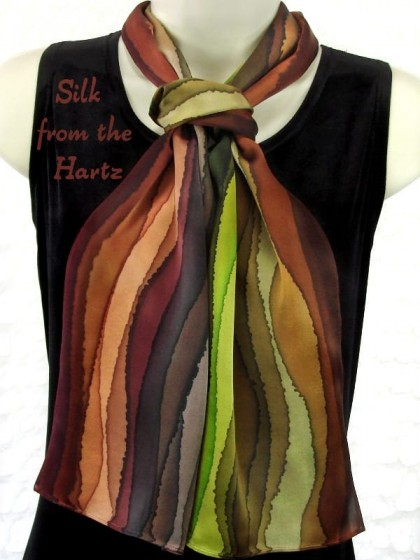 Beautiful unique women's gifts hand crafted by the artist. She will enjoy this earth tone brown and green stripe silk satin scarf for a wedding anniversary gift, or just to say I love you.