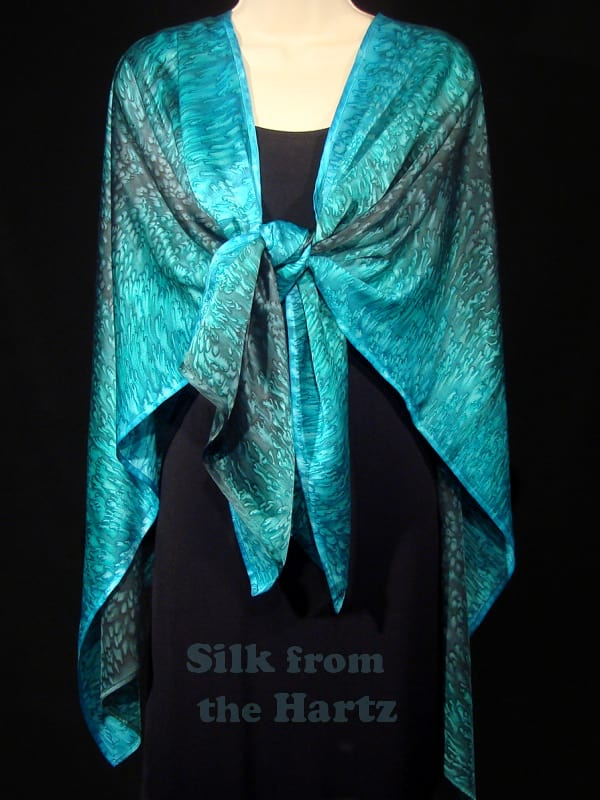 green and turquoise wearable art, hand dyed silk shawl