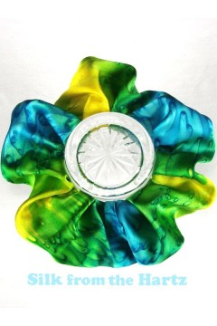 Yellow green turquoise silk scrunchie with adjustable elastic inside for gymnastics, fine or thick hair.